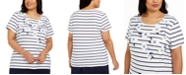 Karen Scott Plus Size Embellished Striped Floral-Print Top, Created For Macy's