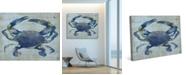 "Creative Gallery Indigo Blue Crab 24"" x 20"" Canvas Wall Art Print"