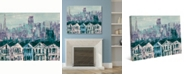 """Creative Gallery San Francisco Streets Rowhouses in Teal 36"""" x 24"""" Canvas Wall Art Print"""