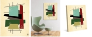 """Creative Gallery Retro Thoughts II in Mint, Olive Rust 36"""" x 24"""" Canvas Wall Art Print"""