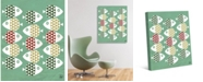 "Creative Gallery School Of Retro Fish in Mint, Olive Rust 24"" x 20"" Canvas Wall Art Print"