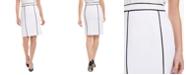 Calvin Klein Petite Pique Contrast Piping Pencil Skirt