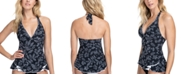 Profile by Gottex Pepita Printed Ruffled Halter Tummy Control Tankini Top