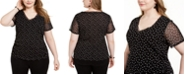 INC International Concepts INC Plus Size Dot-Print Double-Layer V-Neck Top, Created For Macy's