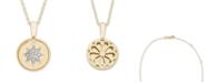 Macy's Diamond Accent Starburst Pendant in 14K Yellow or Rose Gold