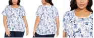 Karen Scott Plus Size Floral Print T-Shirt, Created For Macy's