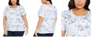 Karen Scott Plus Size Floral-Print Top, Created for Macy's