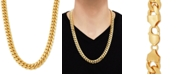 """Macy's Cuban Link 26"""" Chain Necklace in 18k Gold-Plated Sterling Silver"""