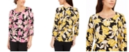 JM Collection Printed Garland-Textured Top, Created for Macy's