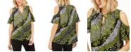 Michael Kors Cold-Shoulder Tie-Neck Top