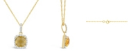 Macy's Citrine (1-1/3 ct. t.w.) and Created White Sapphire (1/6 ct. t.w.) Pendant Necklace in 10k Yellow Gold