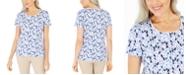 Karen Scott Prism Dream Printed Scoop-Neck Top, Created For Macy's