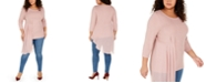 Alfani Plus Size Asymmetrical-Overlay Top, Created for Macy's