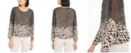 Alfani Petite Mixed-Print Bubble Top, Created for Macy's