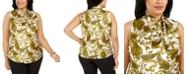 Kasper Plus Size Paisley-Print Tie-Neck Top