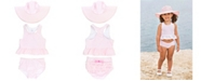 RuggedButts RuffleButts Toddler Girls Peplum 2-Piece Tankini Swimsuit Swim Hat Set