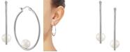 Macy's Cultured Freshwater Pearl (7mm) Hoop Earrings in Sterling Silver