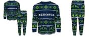Outerstuff Big Boys Seattle Seahawks Wordmark Holiday Pajama Set