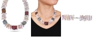 """Macy's Multicolor Freshwater Cultured Pearl (17.5-18mm) Coin and Baroque 18"""" Strand Necklace Sterling Silver Clasp"""