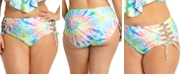 California Waves Size Tie-Dye High-Waist Bikini Bottoms, Created For Macy's