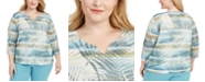 Alfred Dunner Plus Size Chesapeake Bay Printed Embellished Top