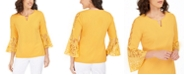 JM Collection Mixed-Media Bell-Sleeve Keyhole Top, Created For Macy's