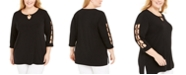 JM Collection Plus Size Ring-Trim Ladder-Sleeve Top, Created for Macy's