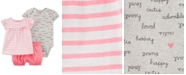 Carter's Baby Girls 3-Pc. Cotton Shirt, Bodysuit & Bubble Shorts Set