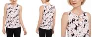 Kasper Floral-Print Keyhole Sleeveless Top
