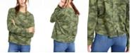 Crave Fame Juniors' Printed Lace-Up Sweatshirt