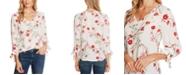 CeCe Floral-Print Tie-Cuff Top