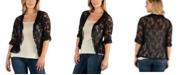 24seven Comfort Apparel Sheer Black Lace Open Front Plus Size Shrug