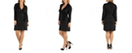 24seven Comfort Apparel Knee Length Long Sleeve Plus Size Wrap Dress