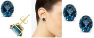 Macy's London Blue Topaz (6-3/8 ct. t.w.) Stud Earrings in 14K Yellow Gold