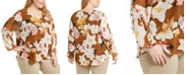 Calvin Klein Plus Size Printed Ruffle-Sleeve V-Neck Top