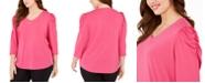 Adrienne Vittadini Plus Size Knit Crepe Puff-Sleeve Top