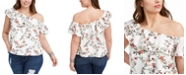 INC International Concepts INC Plus Size Cotton Ruffled One-Shoulder Top, Created for Macy's
