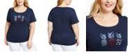 Karen Scott Plus Size Cotton Pineapple T-Shirt, Created for Macy's