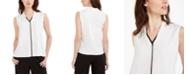 Calvin Klein Petite Sleeveless Colorblocked Blouse