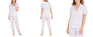 Charter Club Cotton Embroidered Stripe Capri Pants Pajamas Set, Created for Macy's