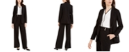 Calvin Klein Open-Front Jacket, Contrast-Trim Top & Faux-Pearl-Button Pants