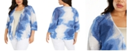 Alfani Plus Size Printed Drape-Front Linen Cardigan Sweater, Created for Macy's