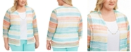 Alfred Dunner Plus Size Spring Lake Striped Layered-Look Top