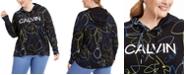 Calvin Klein Plus Size Tropical-Print Logo Hoodie