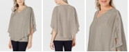JM Collection Plus Size Crochet-Neck Crosshatch Blouse, Created For Macy's