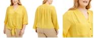 Adrienne Vittadini Plus Size Tie-Front Blouse