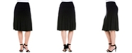 24seven Comfort Apparel Women's Plus Size Comfortable Midi Skirt