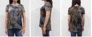COIN 1804 Women's Tie Dye Short Sleeve Button Back Top