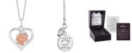 "Hallmark Diamonds Heart Rose Love pendant (1/20 ct. t.w.) in Sterling Silver & 14k Rose Gold, 16"" + 2"" extender"