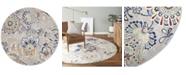 "Global Rug Designs Haven Hav13 Ivory and Navy 5'2"" x 5'2"" Round Rug"